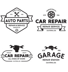 set of vintage monochrome car repair service vector image