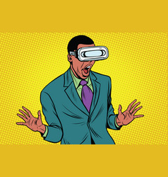 Shocked african american in vr glasses vector