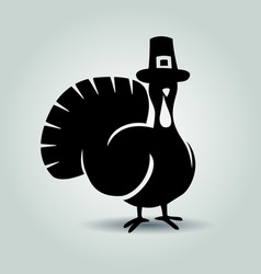 silhouette turkey thanksgiving day vector image