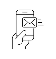 smartphone in hand with received email on white vector image