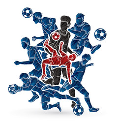 Soccer team composition player action vector