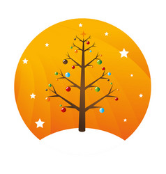Sphere with colorful christmas tree with garlands vector