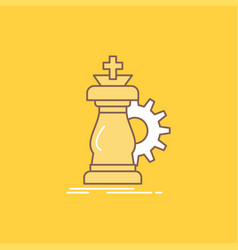 strategy chess horse knight success flat line vector image