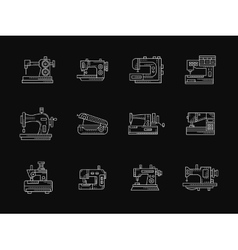 Tailoring machinery white flat line icons vector image