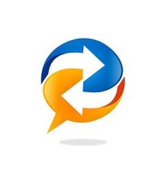 Talk bubble speech arrow circle logo vector