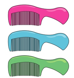 three colour comb vector image