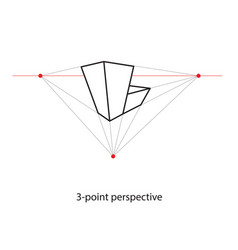 three point perspective line drawing study art vector image