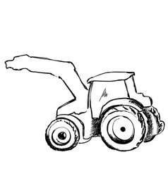 tractor sketch agricultural machine hand drawn vector image