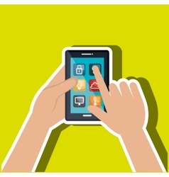 user hands with smartphone house isolated icon vector image