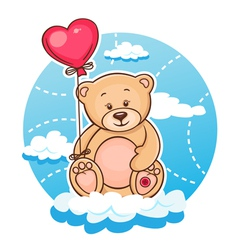 Valentine teddy with balloon vector