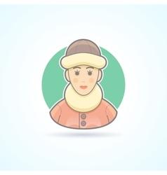 Warm dressed woman polar explorer icon vector