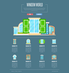 Window world concept in flat design vector