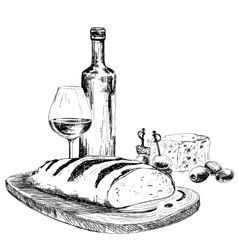 Wine bread and blue cheese vector