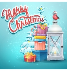 with christmas tree gifts vector image