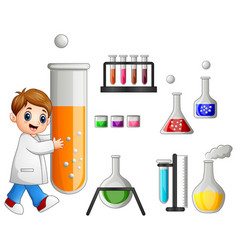 Young scientist holding test tube and laboratory e vector