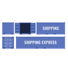 blue shipping cargo metal container from different vector image
