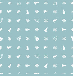 christmas trees and snowflakes blue pattern vector image vector image