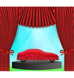 hidden car and red curtain vector image