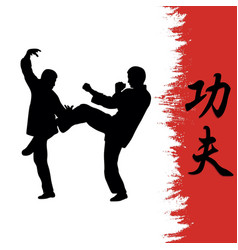 men demonstrate kung fu and a hierog vector image vector image