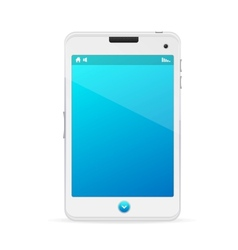 Realistic white mobile phone with blue screen vector image vector image