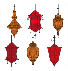 Set of ornamental ethnic lanterns in two colors vector image vector image