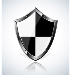 Silver shield with reflection vector image