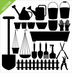 tool garden silhouettes vector image vector image