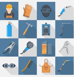 welding icon flat style set vector image vector image
