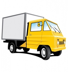 yellow delivery truck vector image vector image