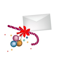 A Candy Cane with Christmas Balls and Letter vector image vector image
