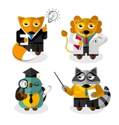 Animal professions cartoon characters set vector image