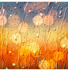 Autumn background view through wet glass vector image vector image