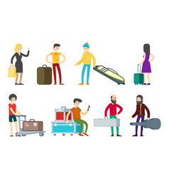 flat people characters collection vector image vector image