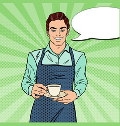 pop art handsome barista cafe making coffee vector image vector image
