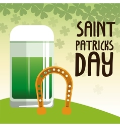 saint patrick day green glass beer with horseshoe vector image