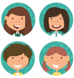 School girls avatar collection vector image