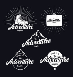 set of the adventure begins hand written lettering vector image vector image