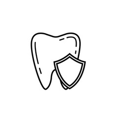 tooth protection line icon vector image vector image