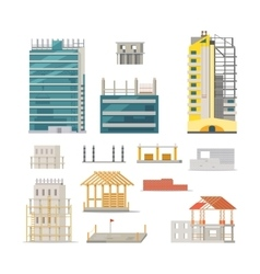 Building Stages of Modern Building Construction vector image