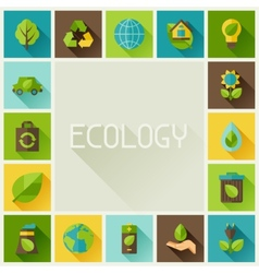 Ecology frame with environment icons vector image vector image