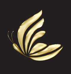 Gold butterfly logo vector image