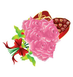 Roses and gift box3 vector image vector image