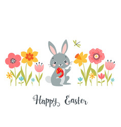 easter bunny among spring flowers vector image vector image
