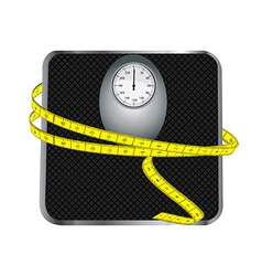 Floor scales with tape measuring vector image vector image