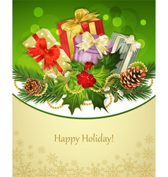 holiday background tree pine conesgifts holly and vector image