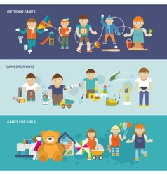 Kids Playing Banner vector image vector image