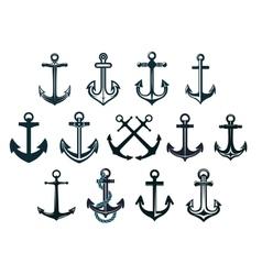 Vintage marine anchors vector image