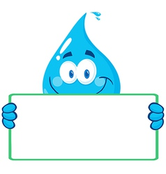 Water Drop Character Holding A Banner vector image vector image