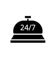 24 hour concierge service black glyph icon vector