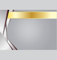abstract sharp metallic aluminum with gold frame vector image
